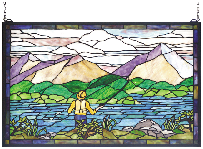 Black Forest Decor Gone fly fishing stained glass window