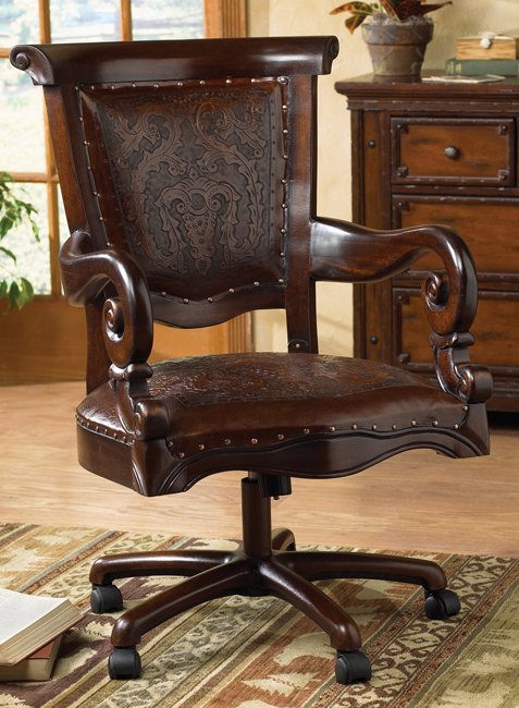 Black Forest Decor Tooled leather western desk chair