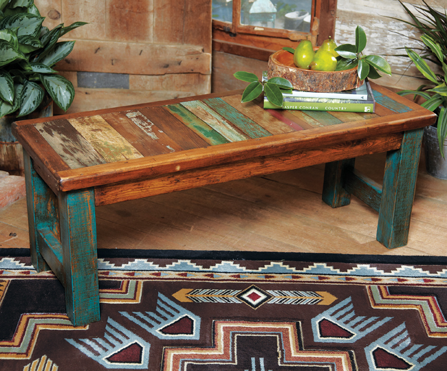 Black Forest Decor Old wood turquoise bench