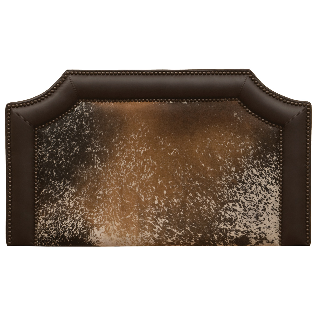 Black Forest Decor Outlaw speckled hair on hide headboard...
