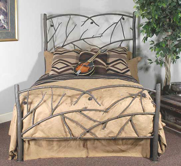Black Forest Decor Pine cone queen bed - frame & headboard