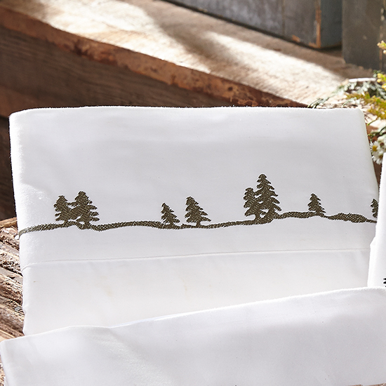 Black Forest Decor Pine tree embroidered sheet set - twin