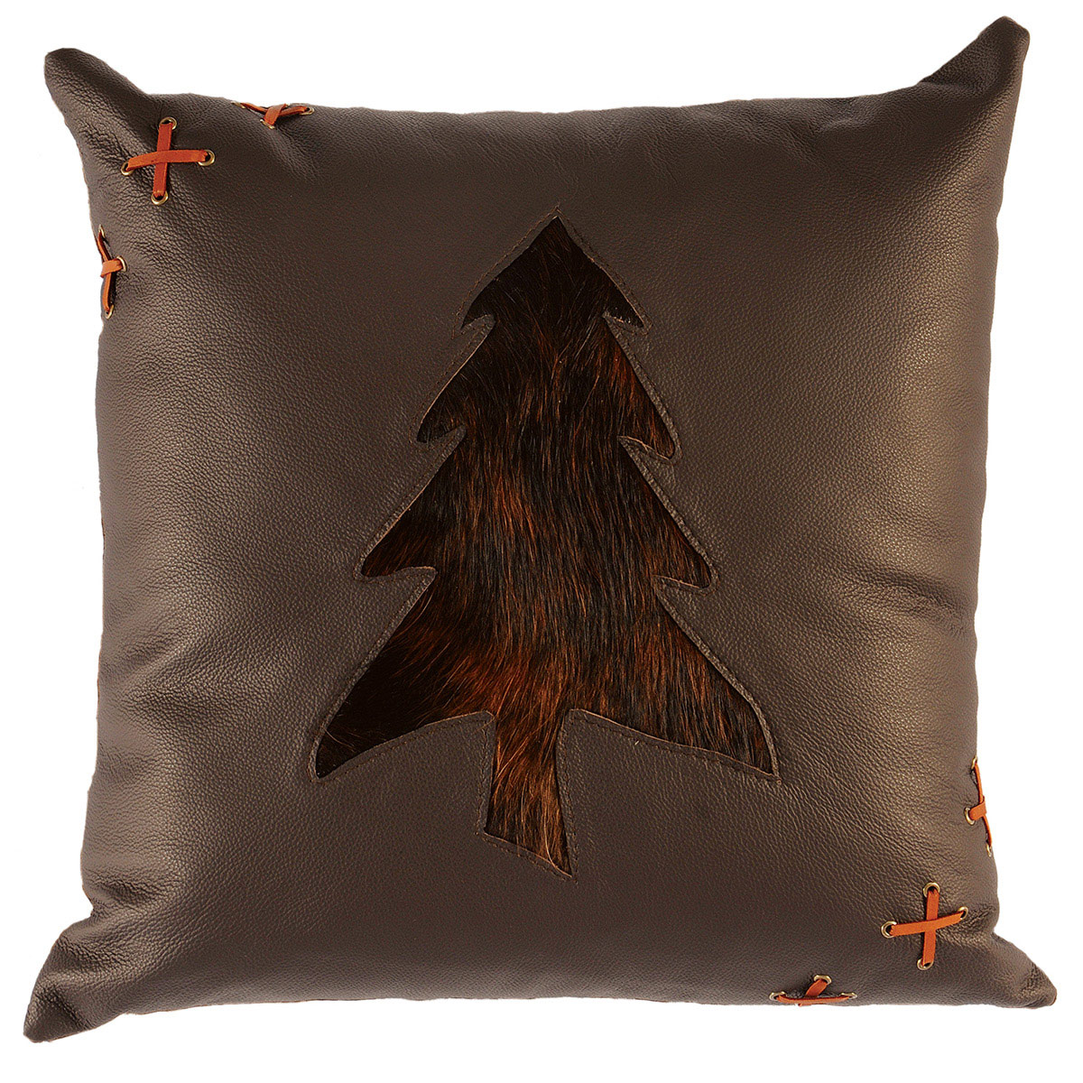Black Forest Decor Pine tree leather & hair on hide accen...