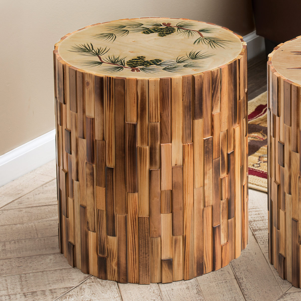 Black Forest Decor Pinecone round wood table