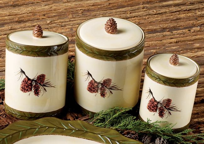 Black Forest Decor Pinecone stoneware canister set - 3 pcs