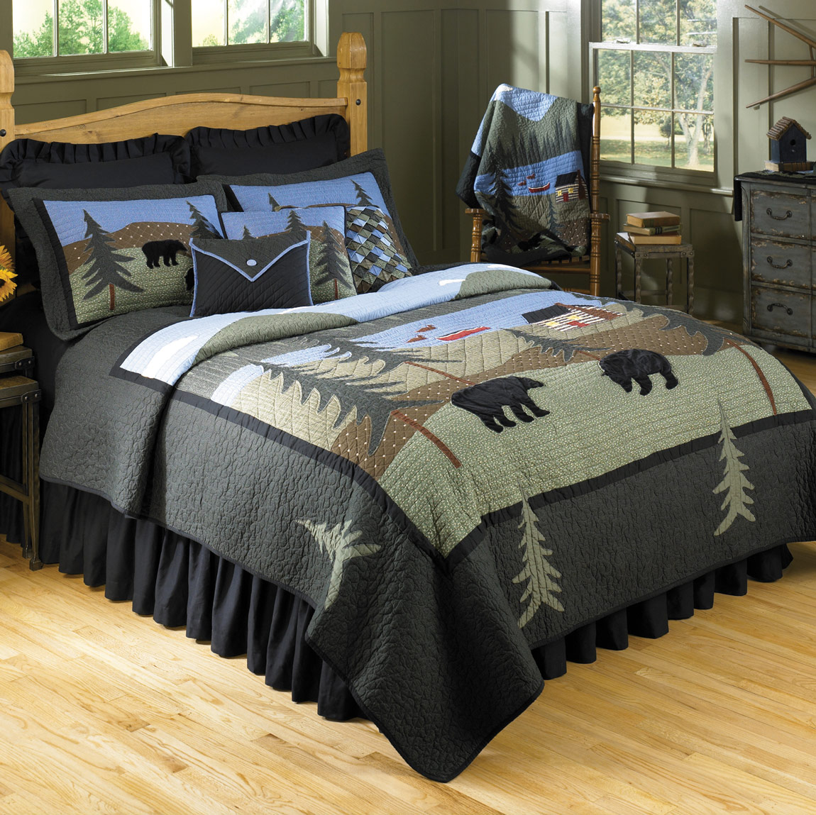 Rustic Bedding King Size Bear Lake Quilt Black Forest Decor