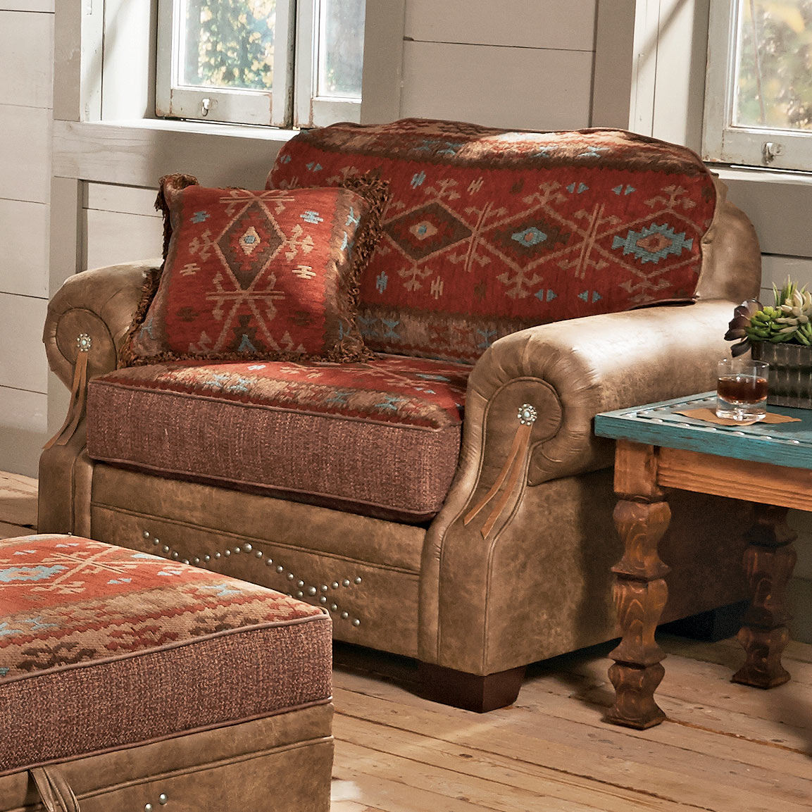 Black Forest Decor Ranchero southwestern chair and a half