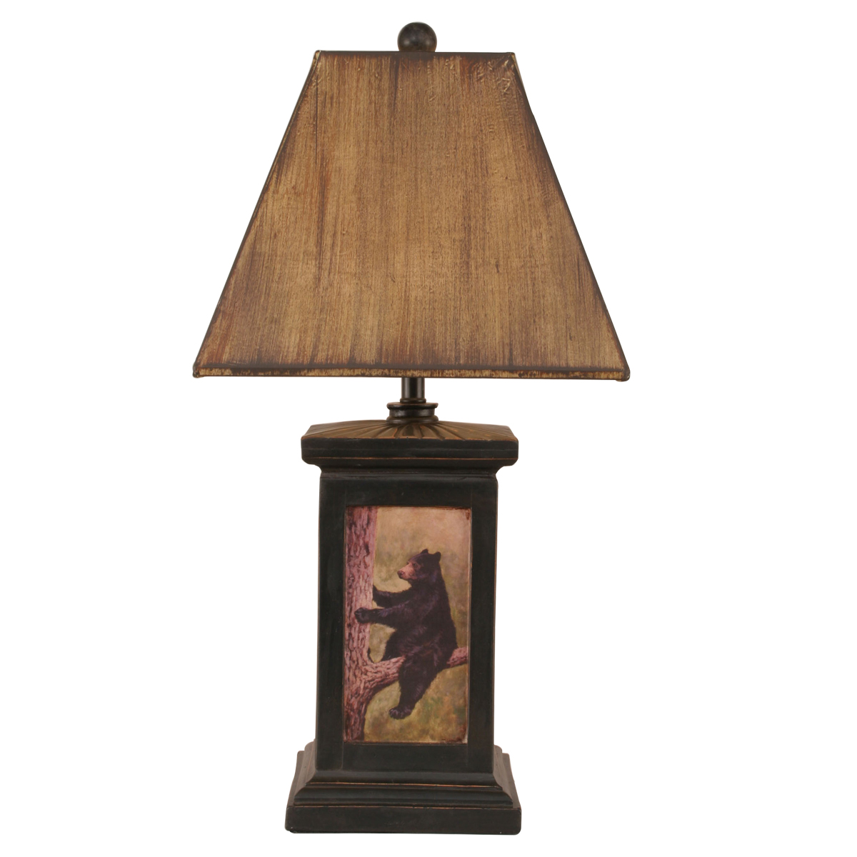 Black bear table lamps lighting compare prices at nextag black forest decor relaxing in the tree bear scene table geotapseo Choice Image