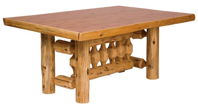 Black Forest Decor Rectangle log dining table - 8' w/liqu...