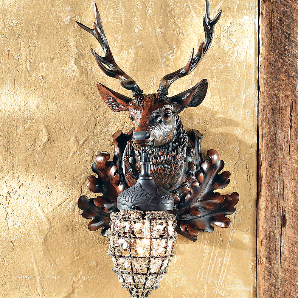 Rustic Wall Sconces: Right Facing Stag Wall Sconce|Black Forest Decor