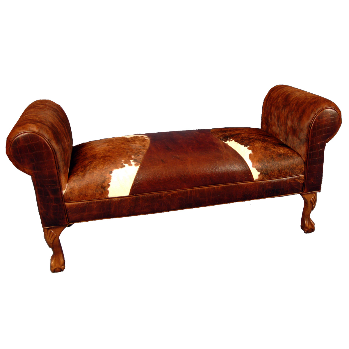 Black Forest Decor Roll arm bench with triumph saddle
