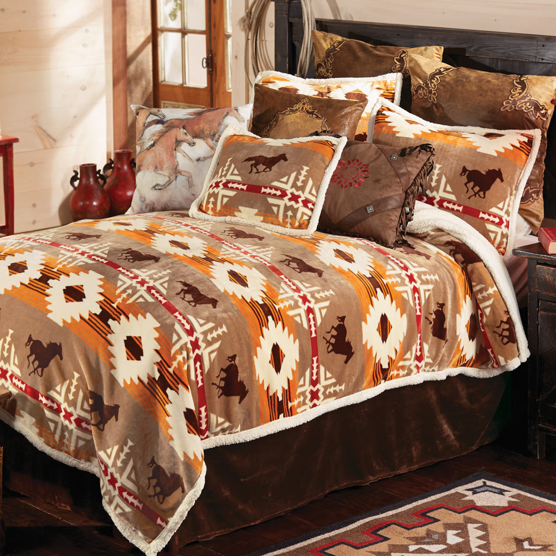 Black Forest Decor Running free horse bed set - queen