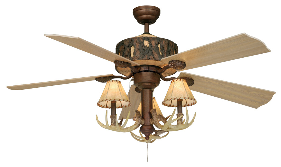 Black Forest Decor Rustic antler ceiling fan with faux le...