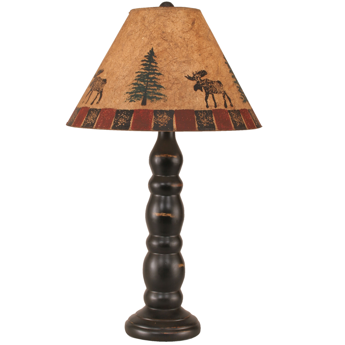 Black Forest Decor Rustic black post table lamp with moos...