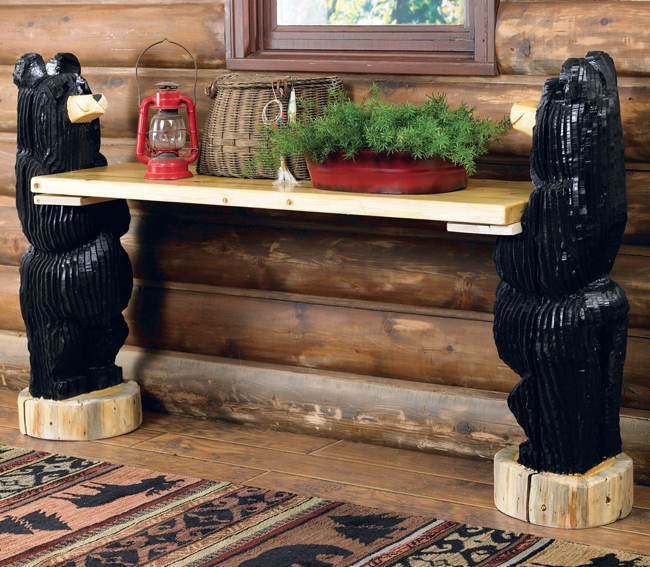 Black Forest Decor Carved black bear wood bench - queen