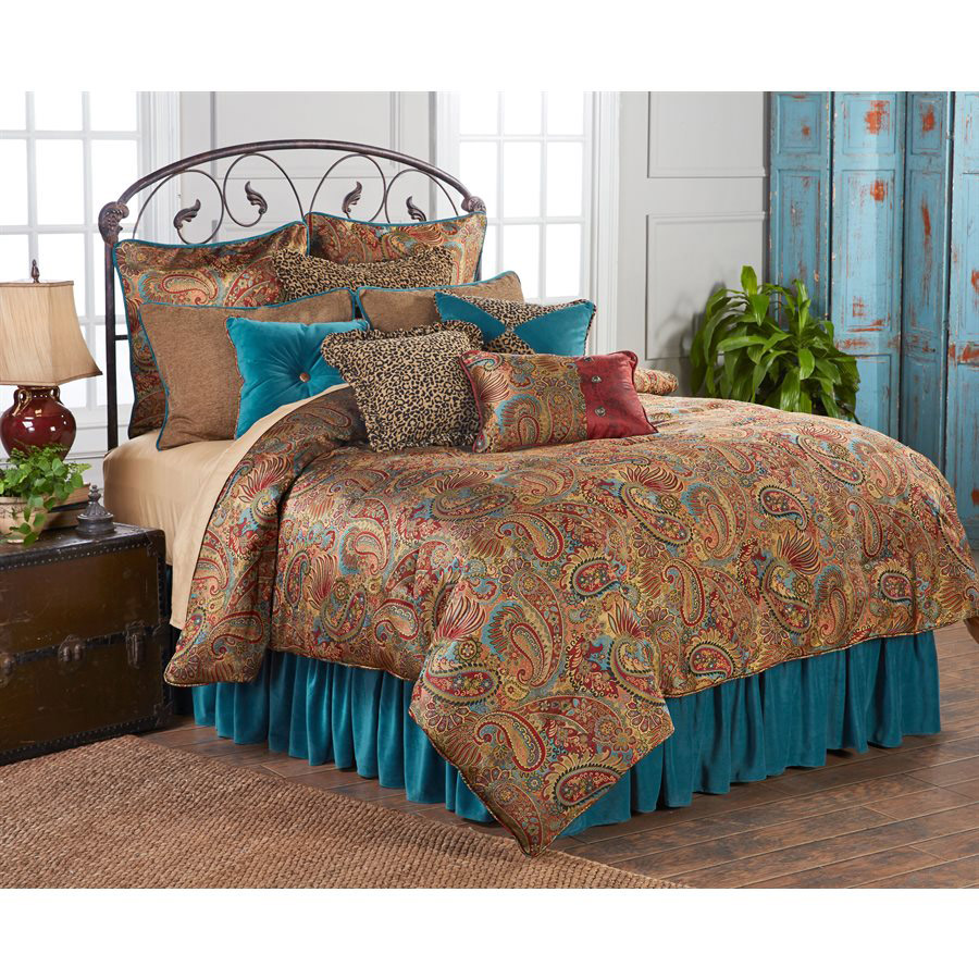 Black Forest Decor San angelo comforter set with teal bed...
