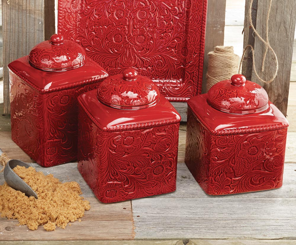 Black Forest Decor Savannah red canister set - 3 pcs