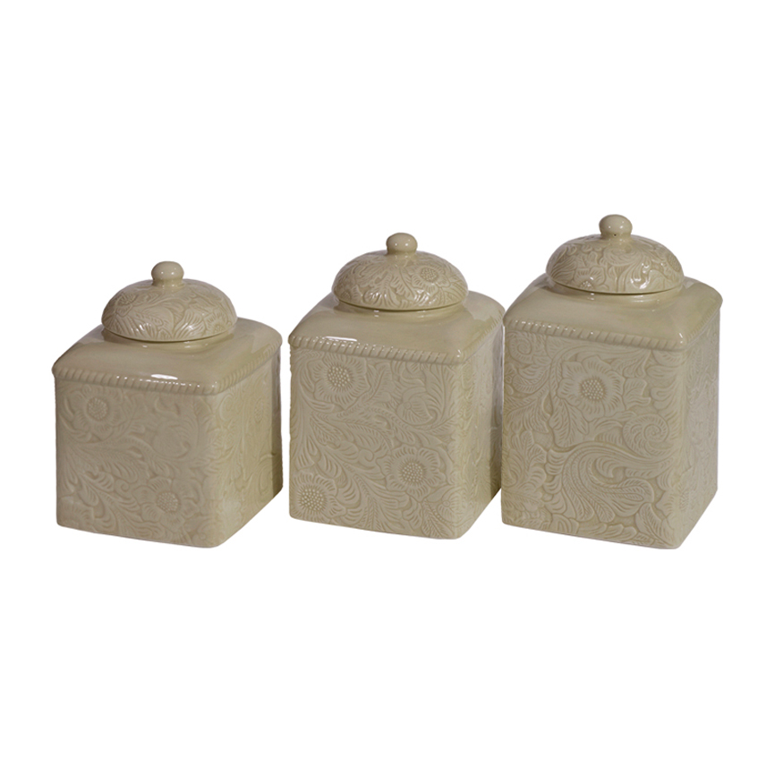 Black Forest Decor Savannah taupe canister set