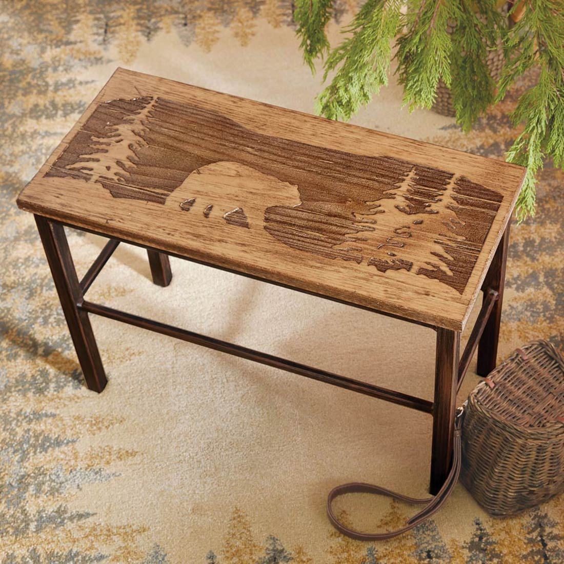 Black Forest Decor Scenic bear wood & metal bench