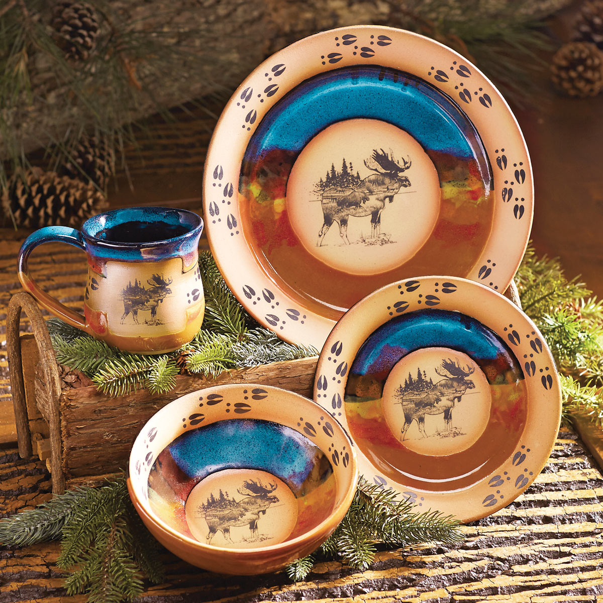 Black Forest Decor Scenic moose pottery dinnerware - 4 pcs