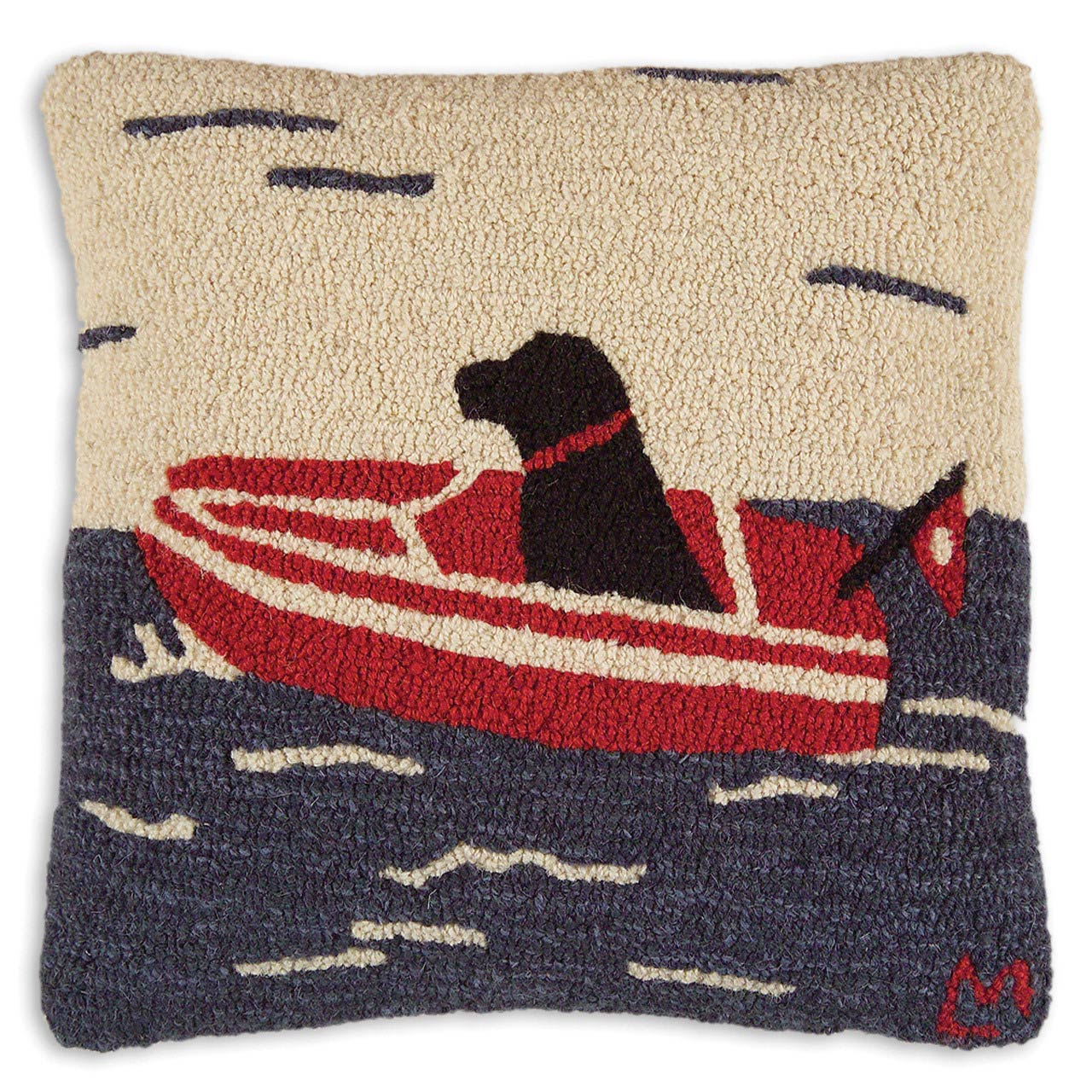 Black Forest Decor Seadog hooked wool pillow