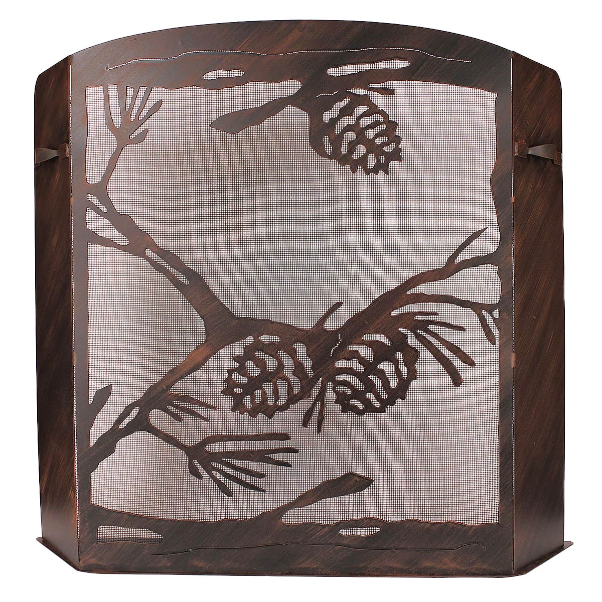 Black Forest Decor Small pinecone scene fireplace screen