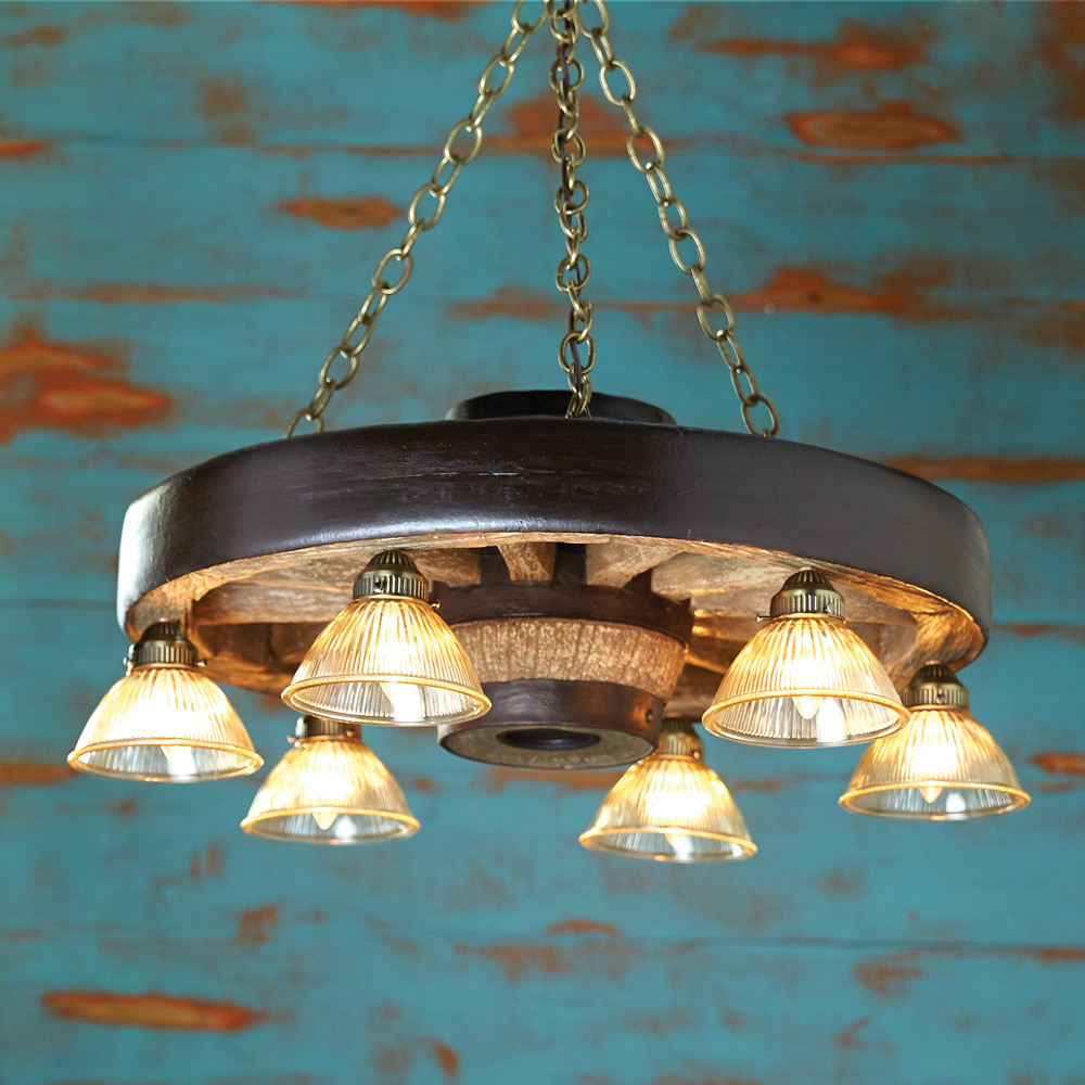 Black Forest Decor Small wagon wheel chandelier with down...