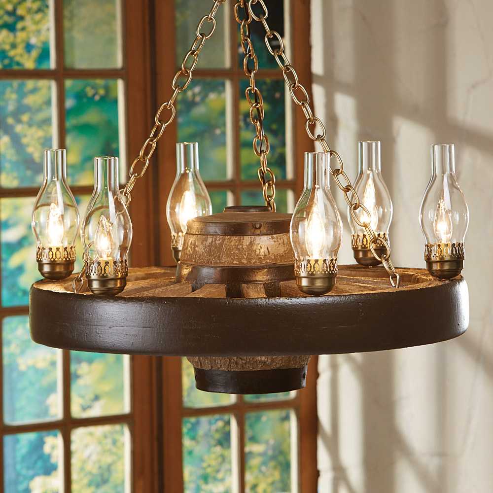 Black Forest Decor Small wagon wheel chandelier