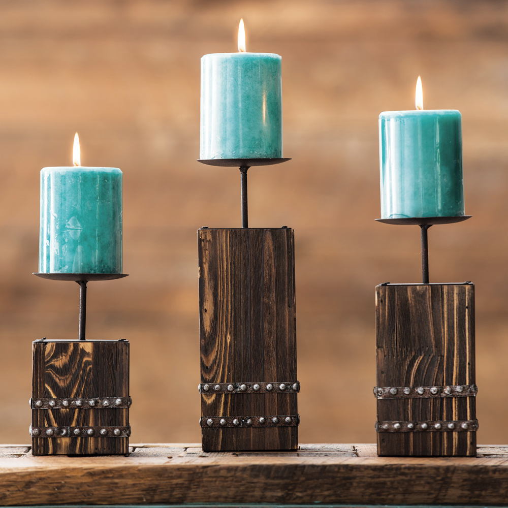 Black Forest Decor Southwest wood candle holder set - 3 pcs