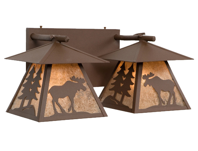 Black Forest Decor Cascade double vanity with moose