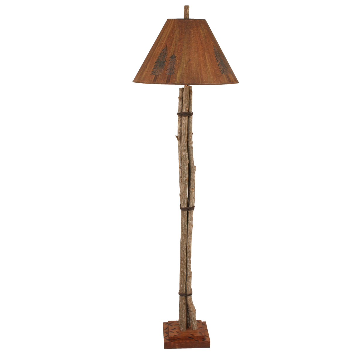 Black Forest Decor Stick gathering floor lamp with pine t...