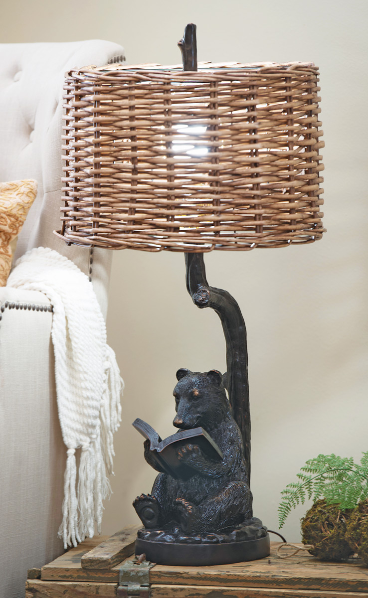 Black Forest Decor Bear and book table lamp