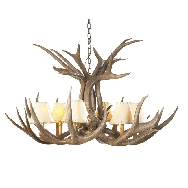 Mule deer antler single tier chandelier 6 light aloadofball Image collections