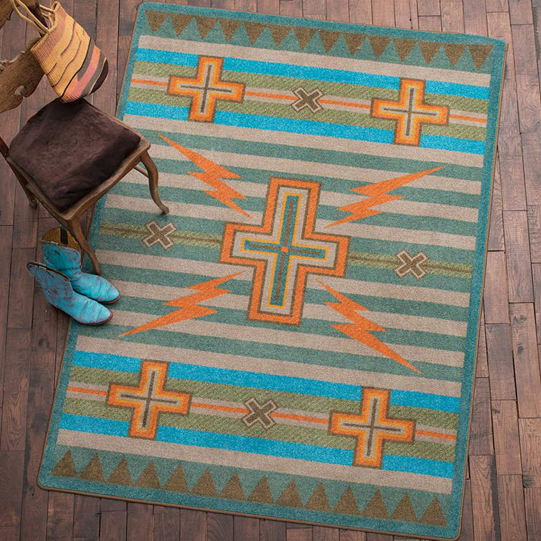 Black Forest Decor Tempest turquoise & gray rug - 4 x 5