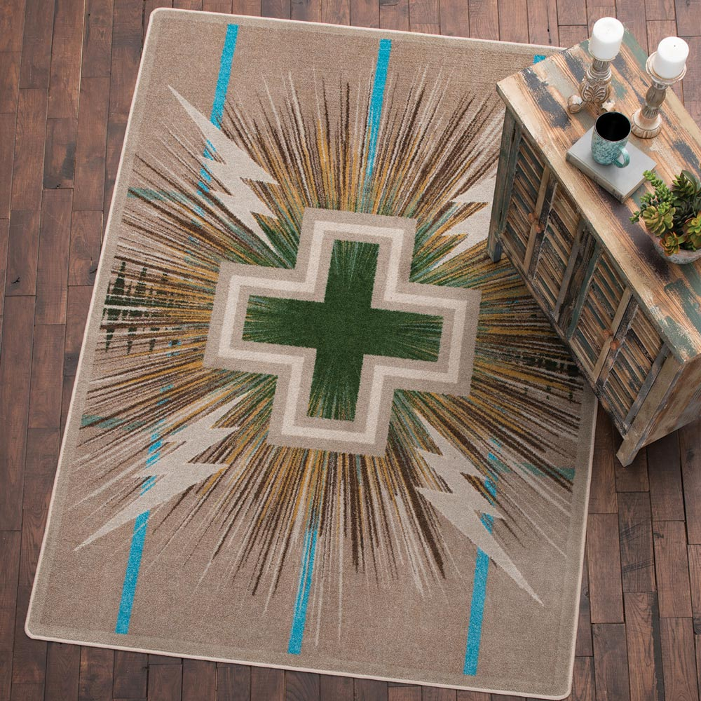 Black Forest Decor Temple gray & turquoise rug - 8 x 11