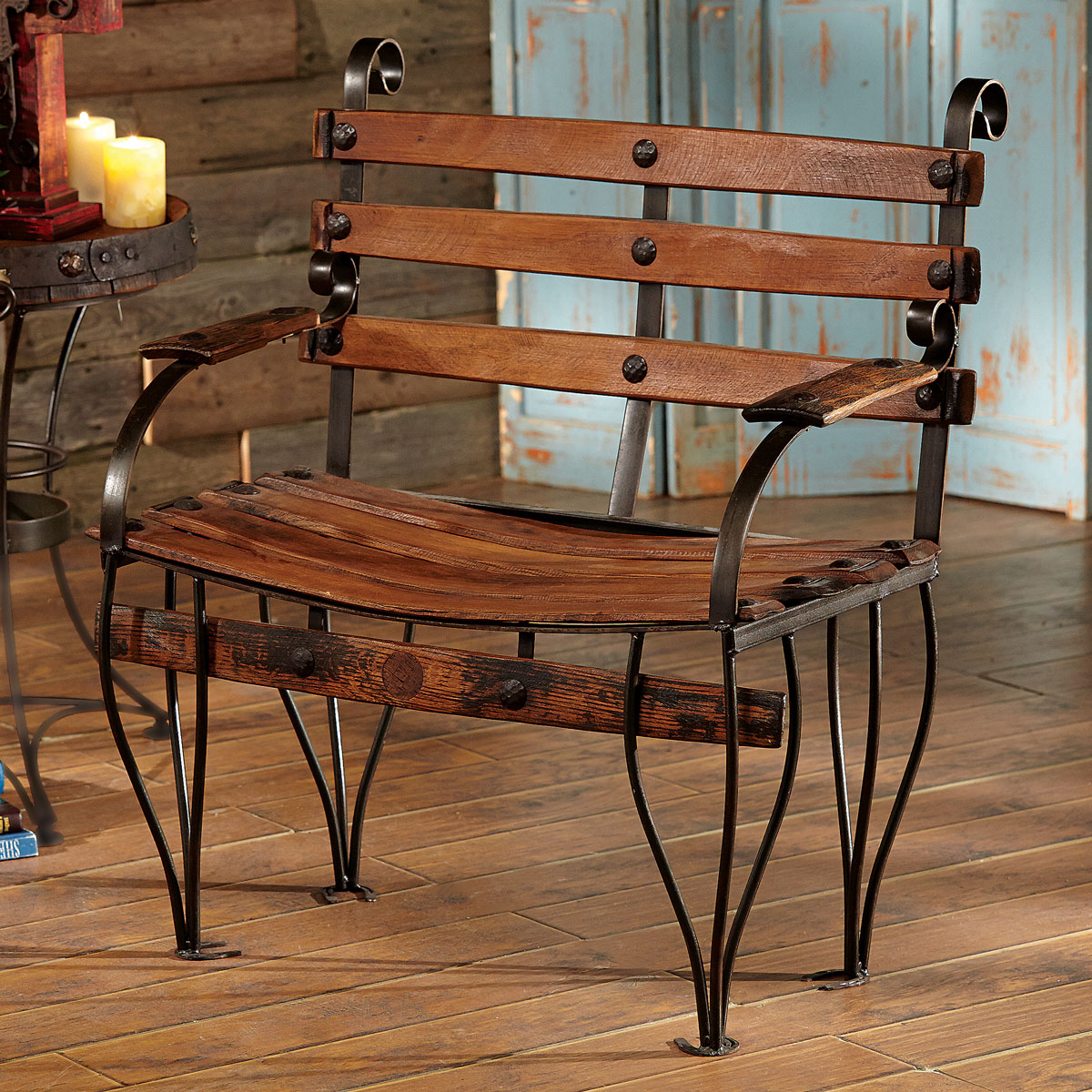 Black Forest Decor Tequila barrel bench
