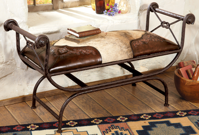 Black Forest Decor Tooled leather and cowhide bench