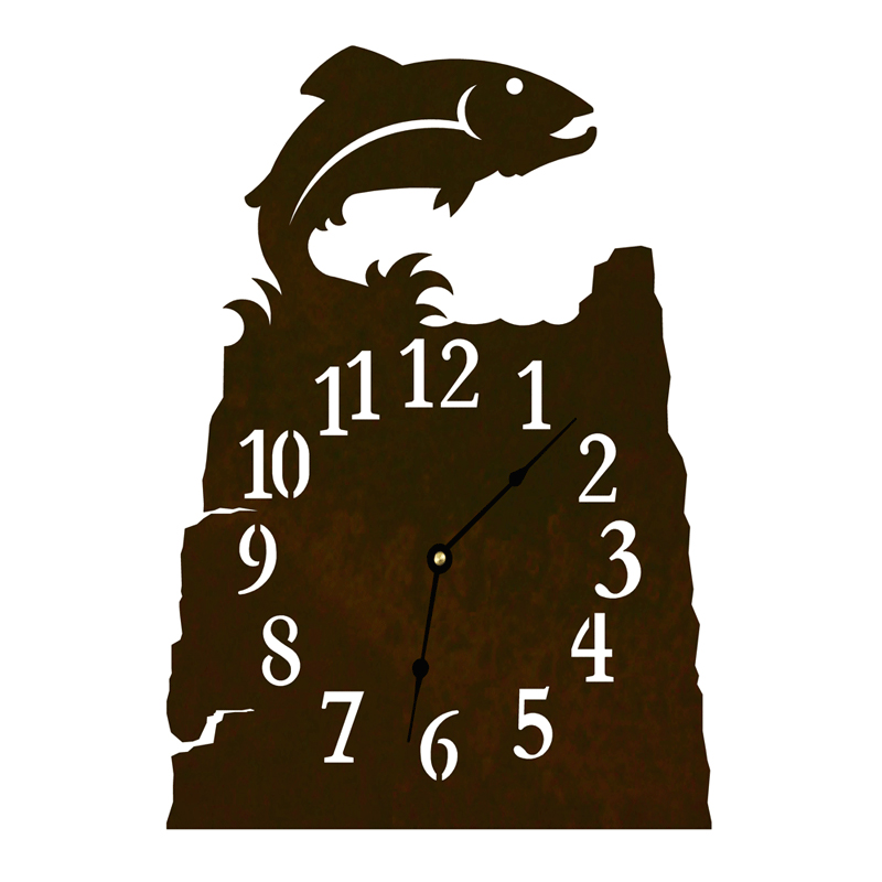 Black Forest Decor Trout table clock - rust