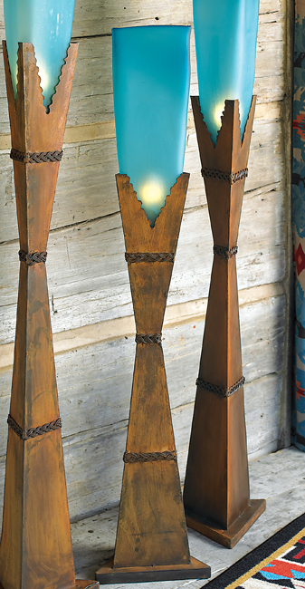 Black Forest Decor Turquoise glass floor lamp - small