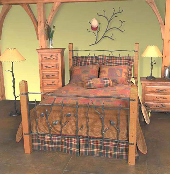 Black Forest Decor Rustic sassafras twin bed (frame & hea...