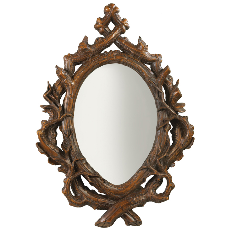 Black Forest Decor Twig oval beveled mirror - maple
