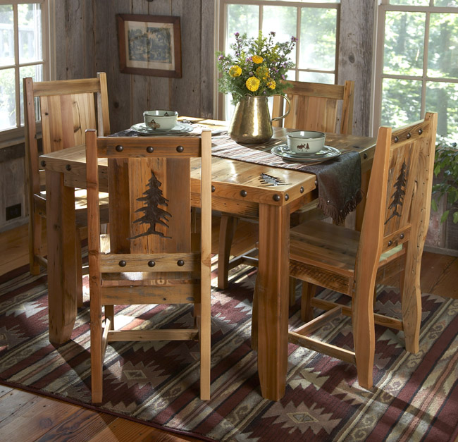 Black Forest Decor Barn wood table & chairs w/carved tree...