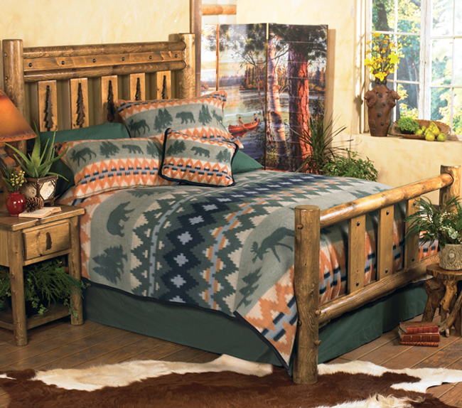 Black Forest Decor Mountain forest log bed - twin