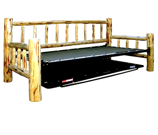 Black Forest Decor Unfinished hand-peeled rustic day bed ...