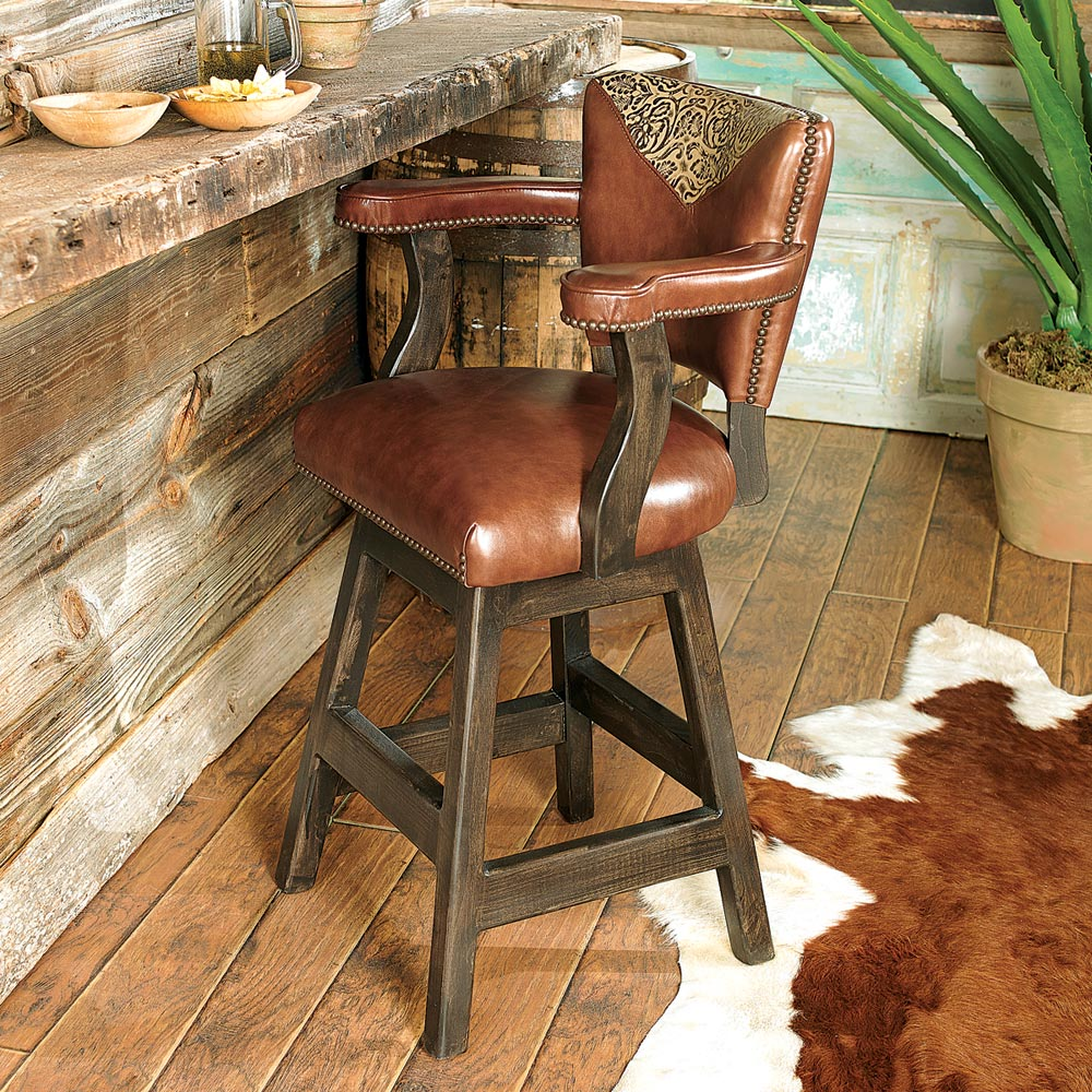 Black Forest Decor Waller western tooled leather barstool