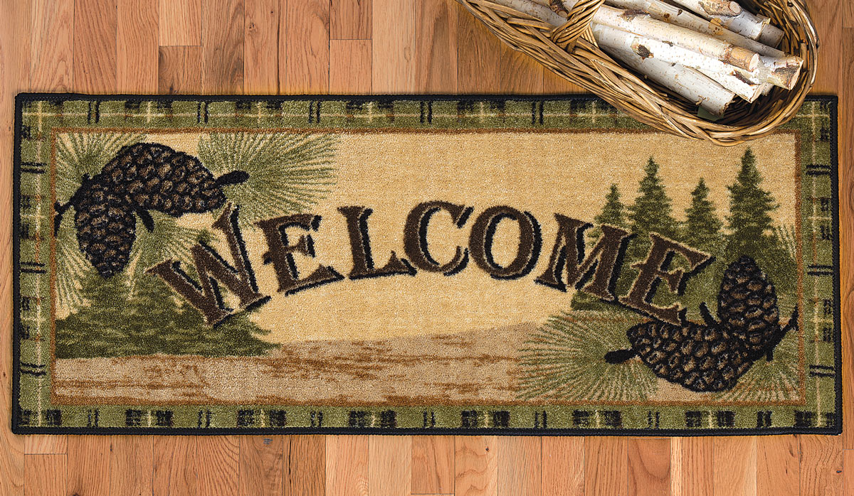 Black Forest Decor Welcome to the forest pinecone bath rug