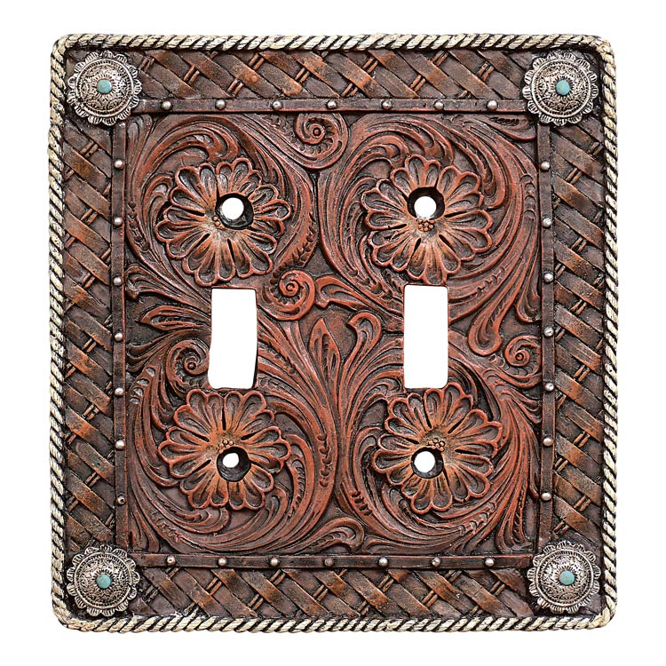Black Forest Decor Western tooled leather double switch p...