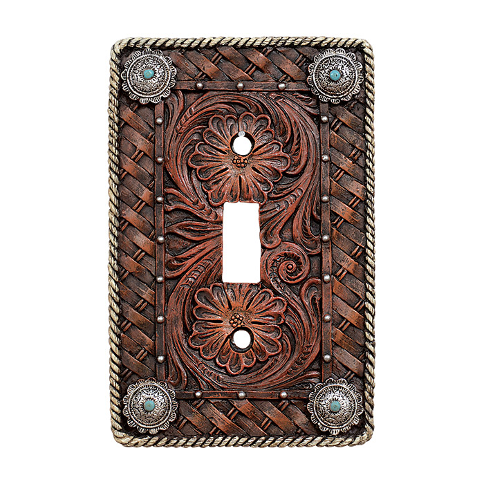 Black Forest Decor Western tooled leather single switch p...