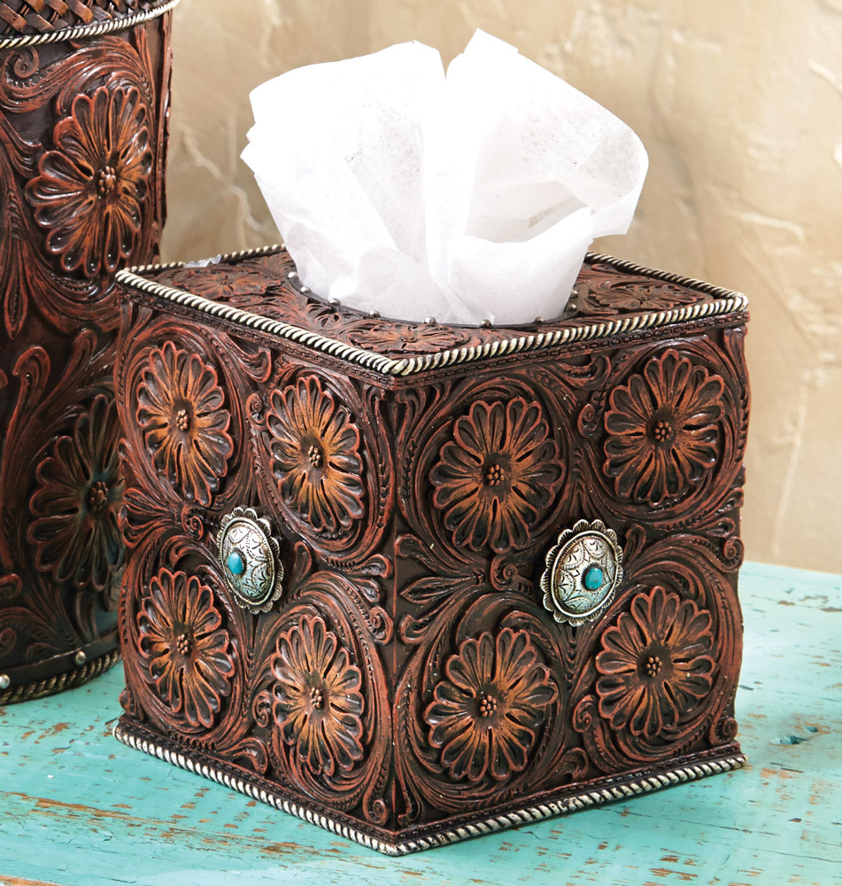 Black Forest Decor Western tooled leather tissue box