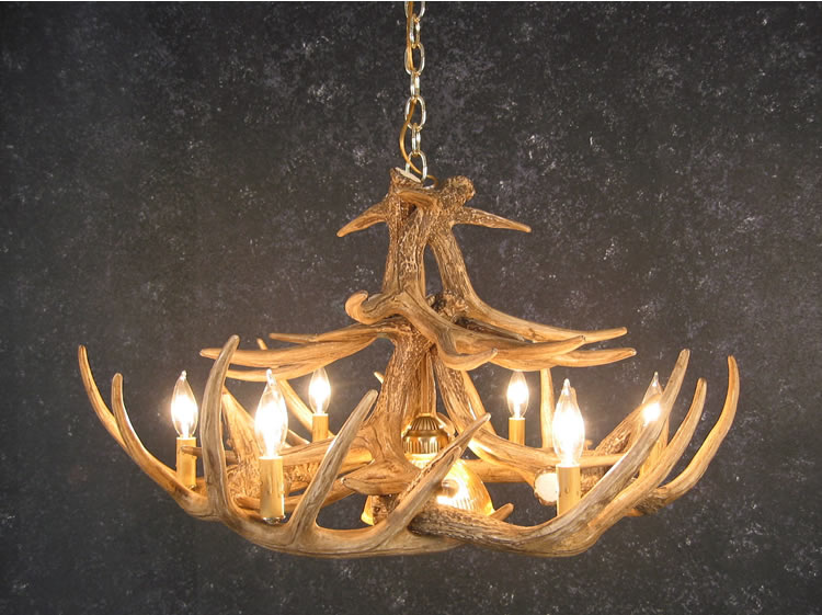 Black Forest Decor Whitetail 12 antler chandelier w/ sing...